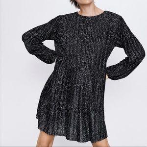 ZARA Polka Dot Pleated Dress